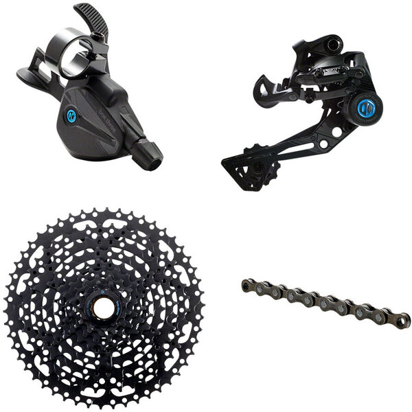 BOX BOX Three Prime 9 X-Wide Multi Shift Groupset - X-Wide Rear Derailleur, 11-50t Cassette, Multi Shift Shifter, Prime 9 Chain