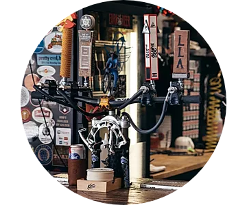 Beer on tap at Pedal Pushers Cyclery