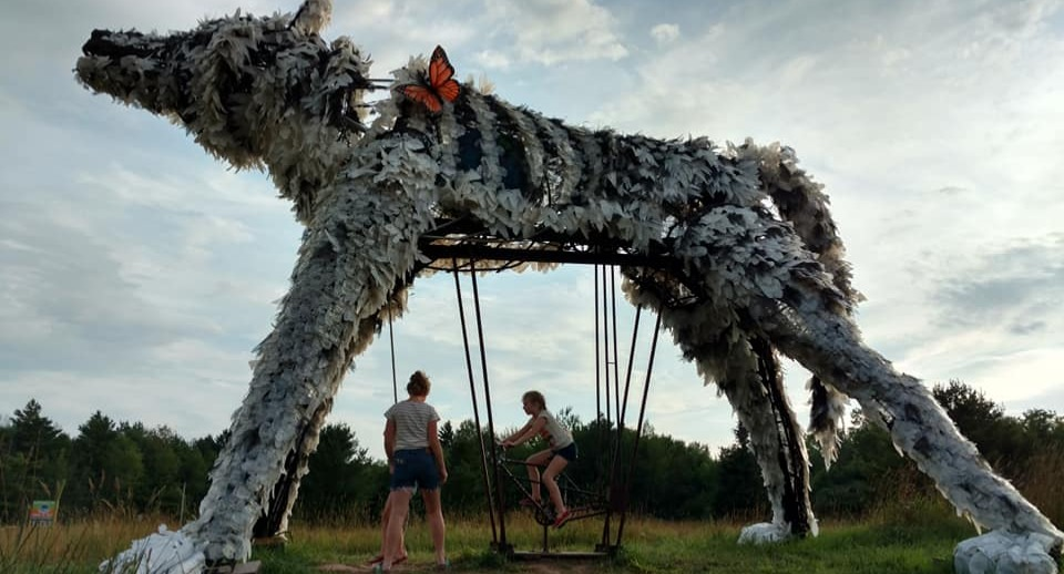 Giant interactive wolf sculpture open to the public