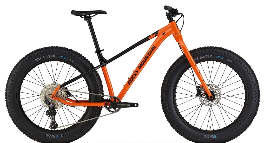 Black and orange Rocky Mountain fat bike