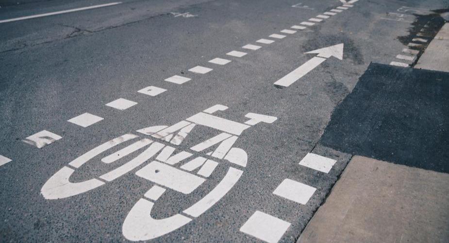 Bike lane signage on road