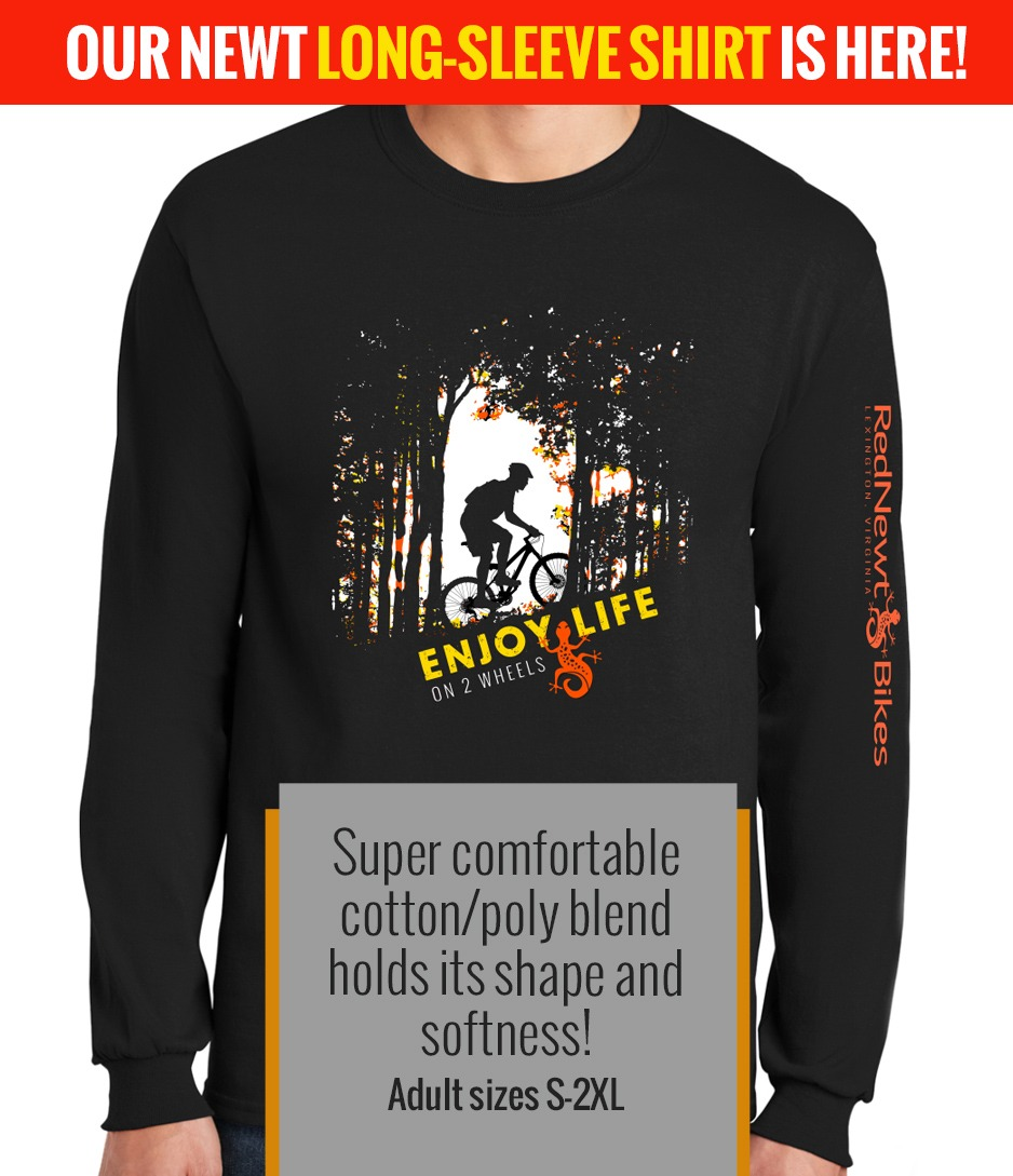 Our new long sleeve shirt is here -- to warm your wintertime rides!