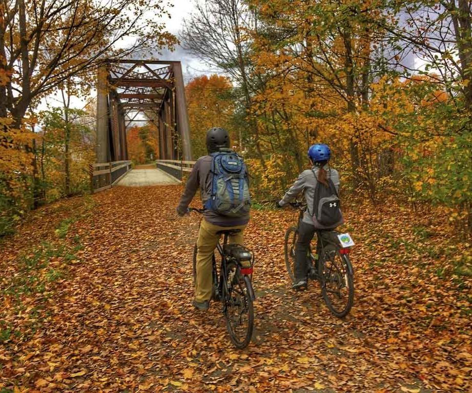 Photo of a couple riding hybrid bikes.