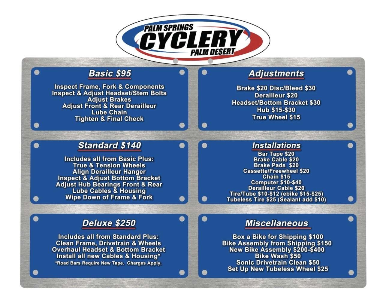 Bike Repair and Service Menu