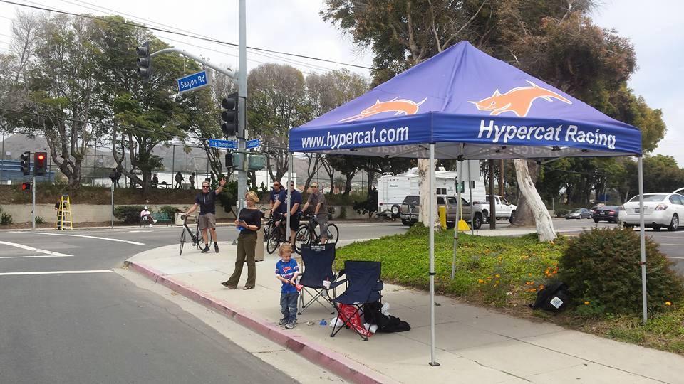 Spectators near Hypercat Racing tent on AMGEN TOC Race Course in Ventura