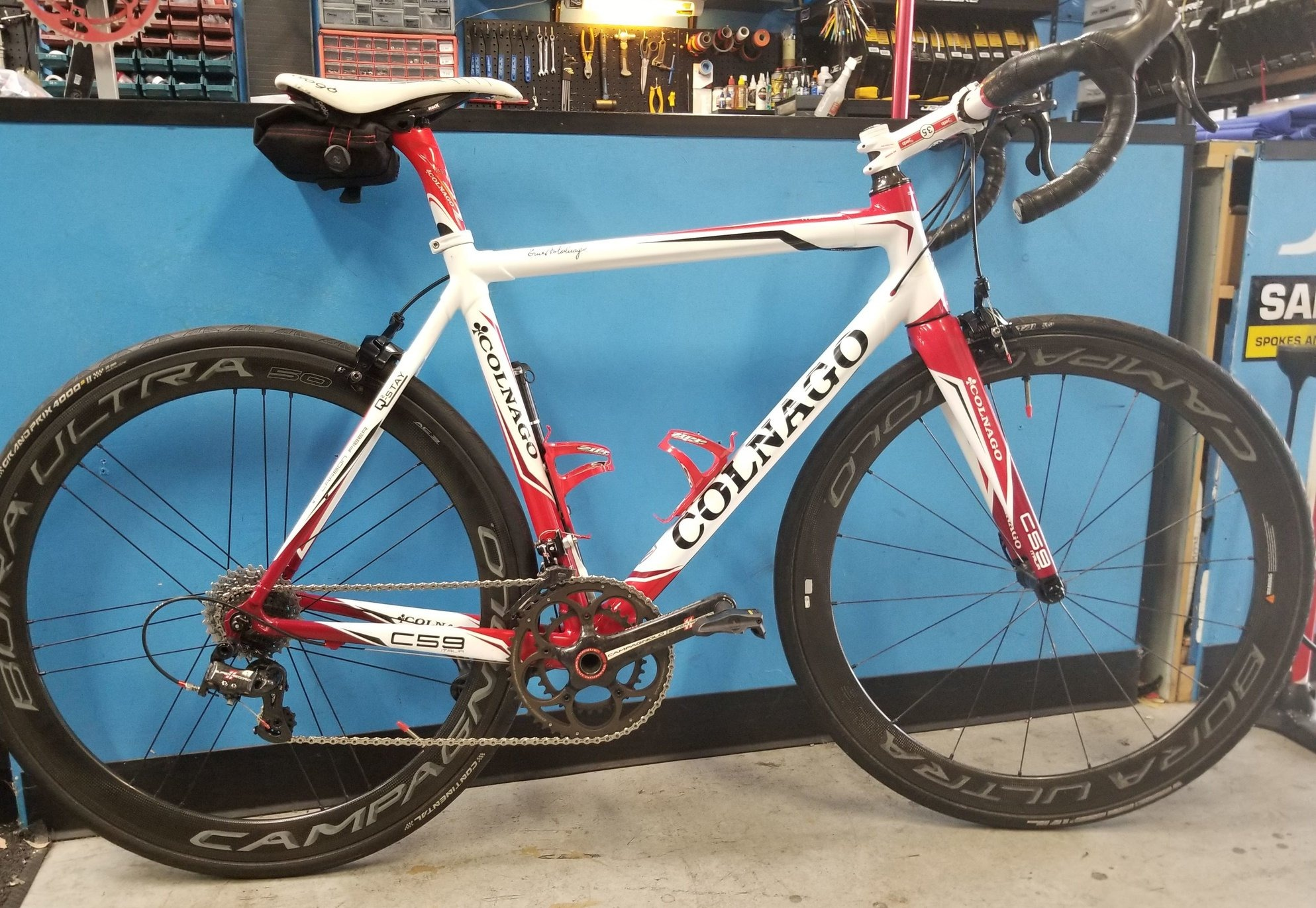 White Colnago Road Bike with red accents