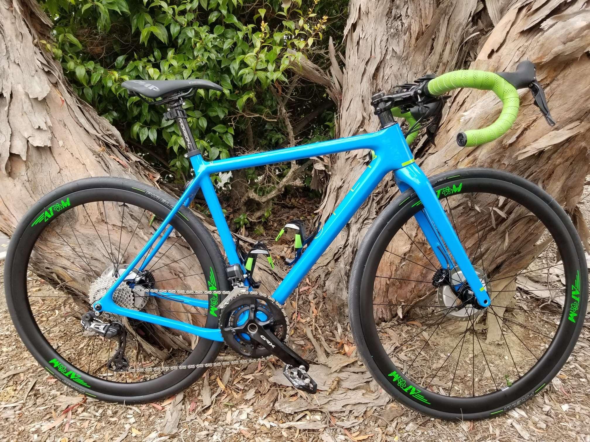 Open Gravel Bike - blue with green handlebar tape