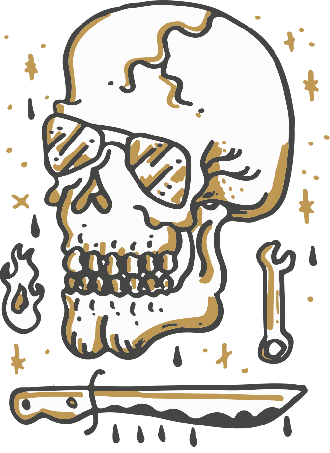 BACK ALLEY BIKES SKULL DRAWING WITH AVIATOR GLASSES