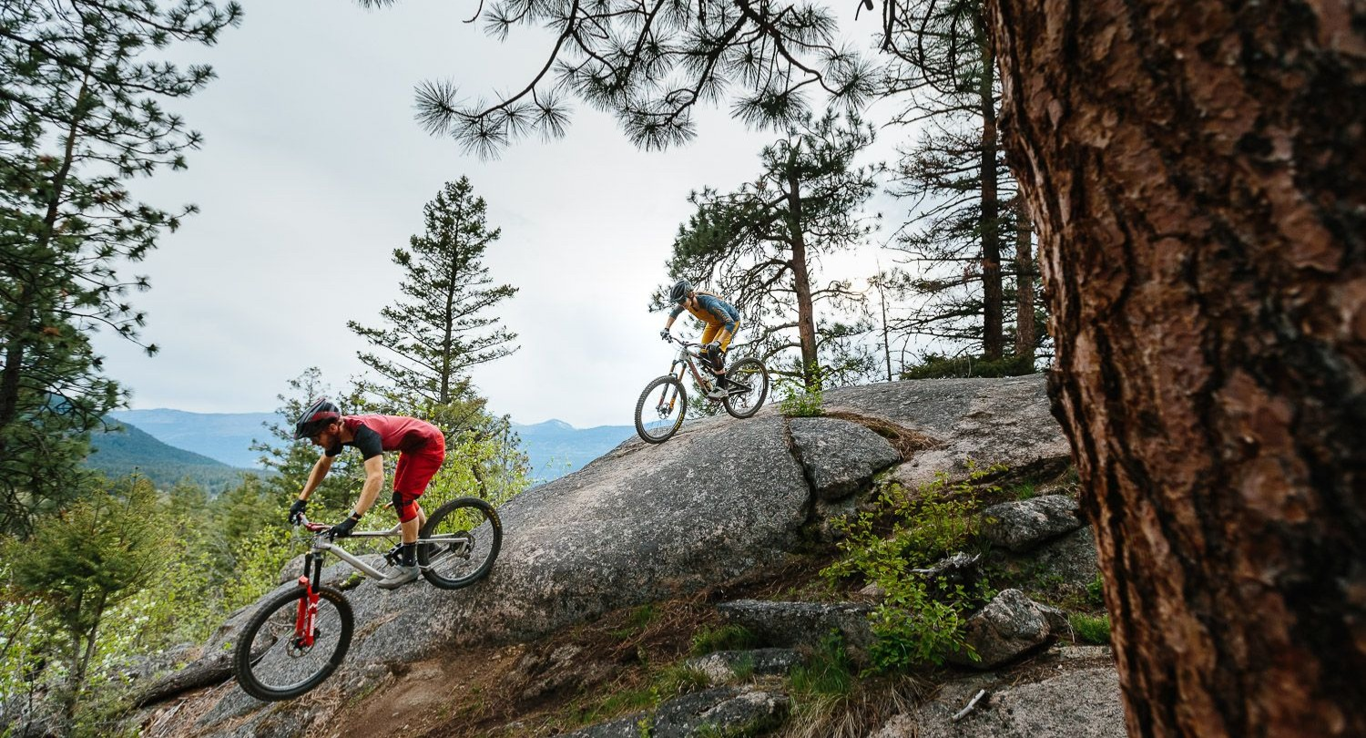 Mountain bikers riding trails