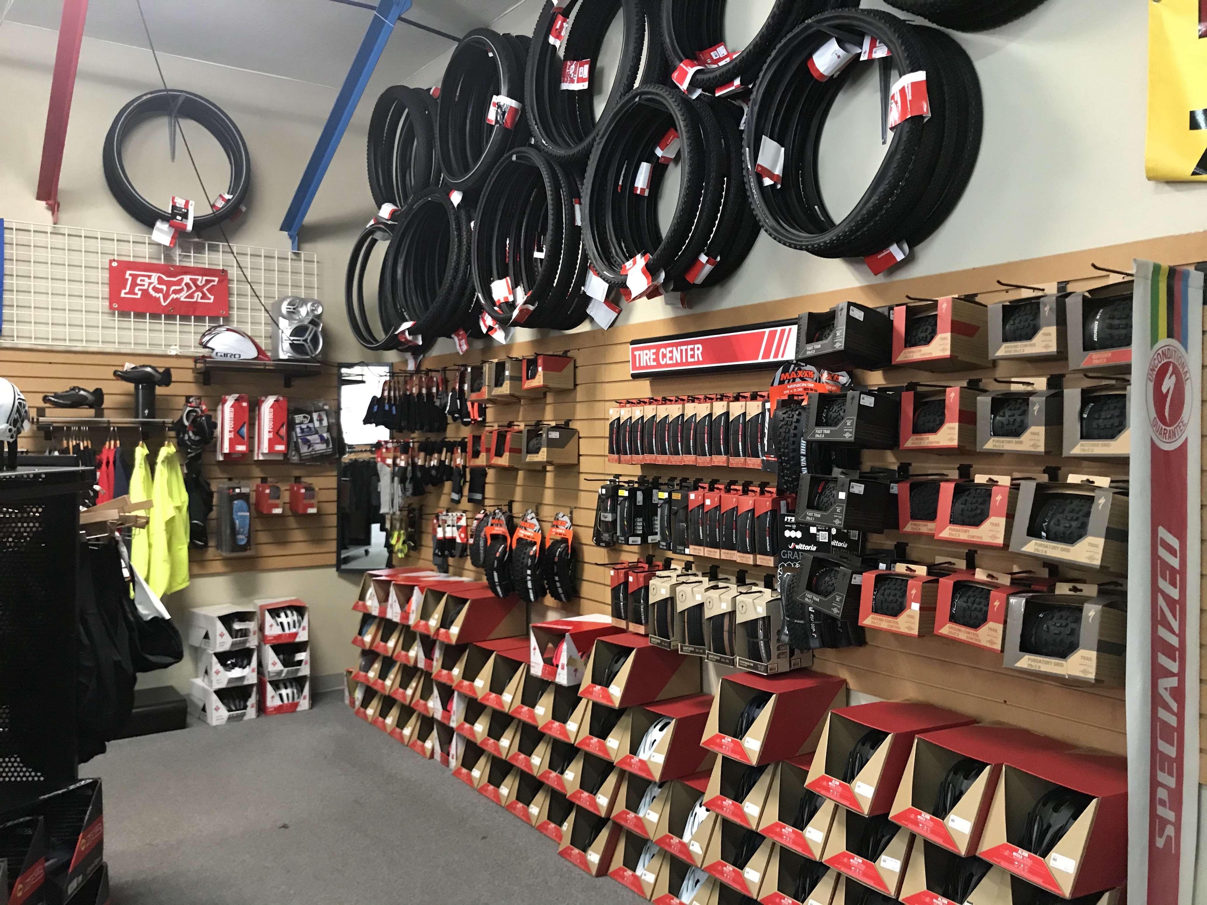 Bike Accessories in a Store Display