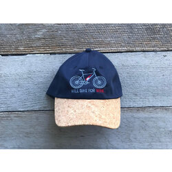Will Bike for Wine Cork Brim Baseball Cap