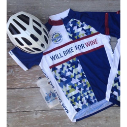 Will Bike for Wine Men's Geometric Cycling Jersey