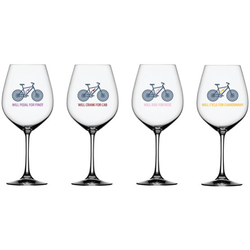 Will Bike for Wine Wine Glasses - Mixed Set of 4