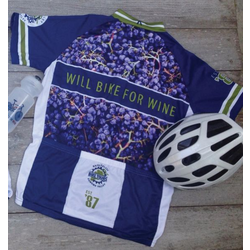Will Bike for Wine Men's Vineyard Jersey