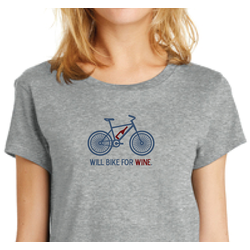Will Bike for Wine Women's Tee