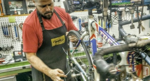 Bicycle being repaired