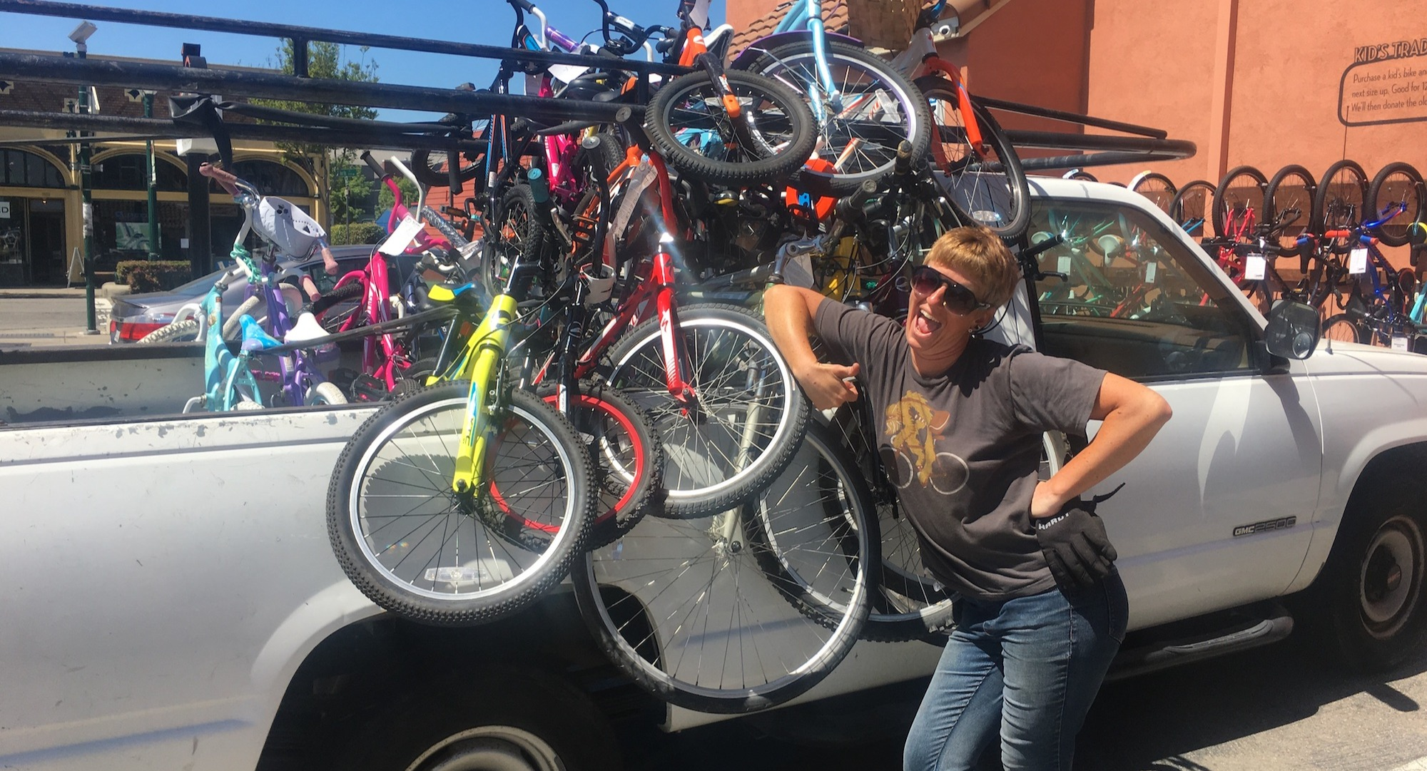 Bike donations loaded into a truck