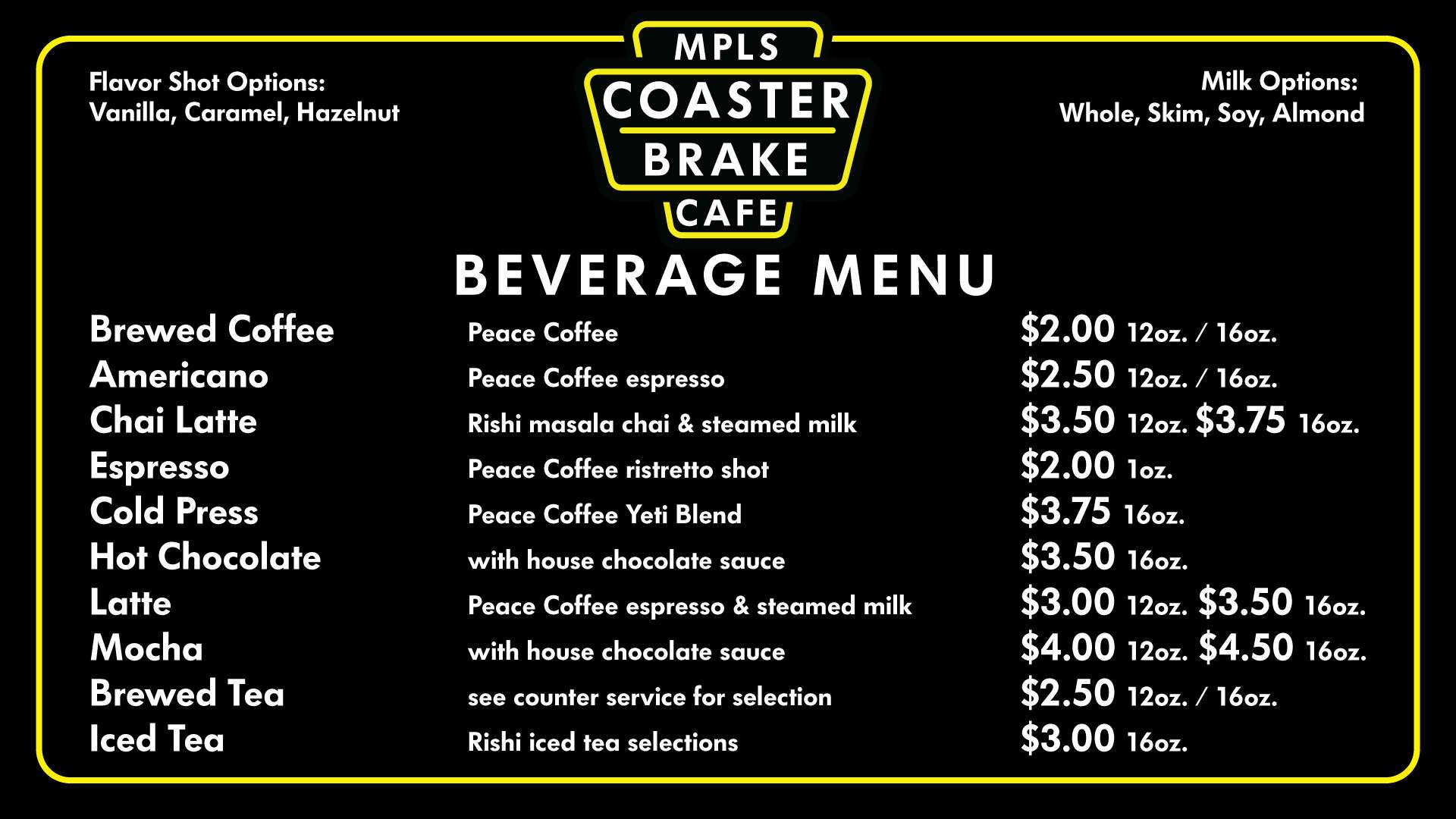 Coaster Brake Cafe - Freewheel Bike Shop - Minneapolis - Twin Cities