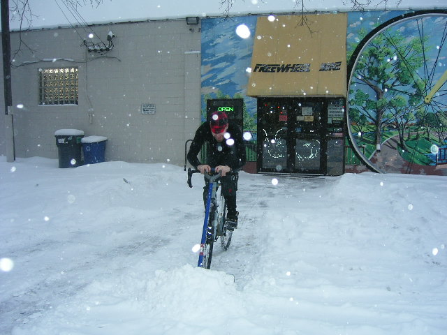 cfb4b89757f So what does a resourceful bike shop do? What else, use their legs and the  greatest piece of mechanically genius ever invented. Jason turned the plow  lights ...