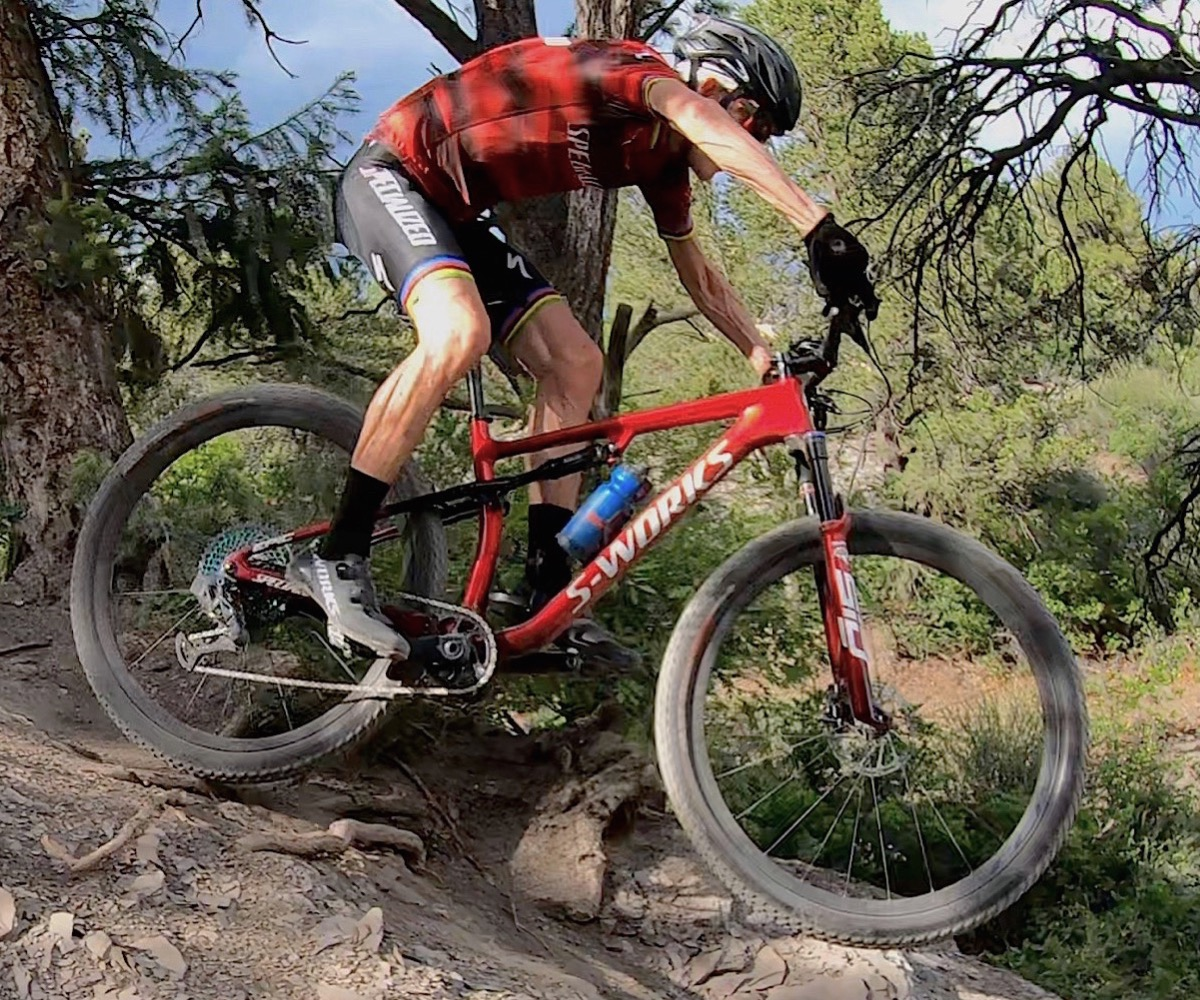 Mountain biker riding a Specialized S-works