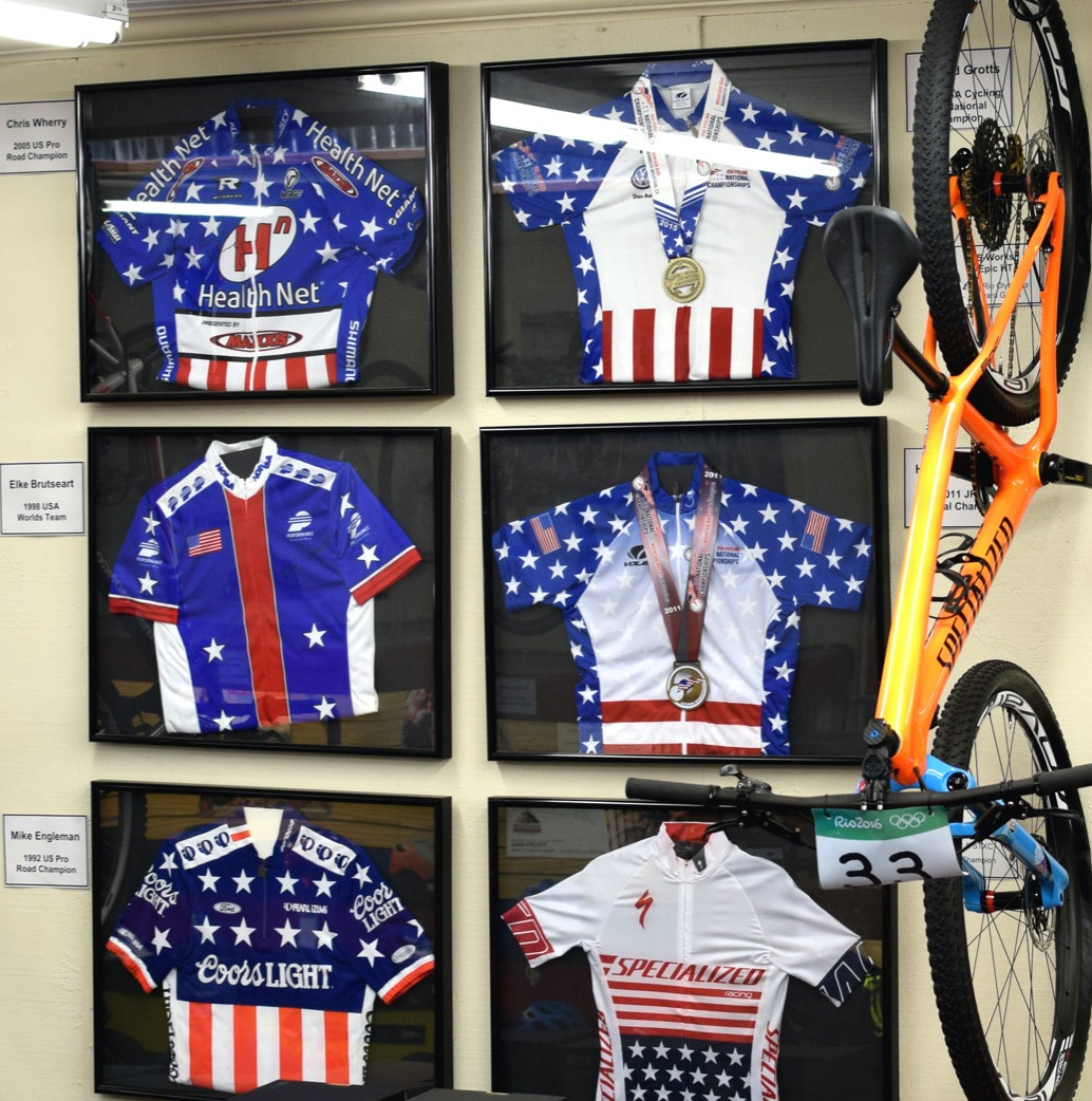 Championship bikes and jerseys from Chris Wherry, Elke Brutseart, Mike Engleman, and Howard Grotts