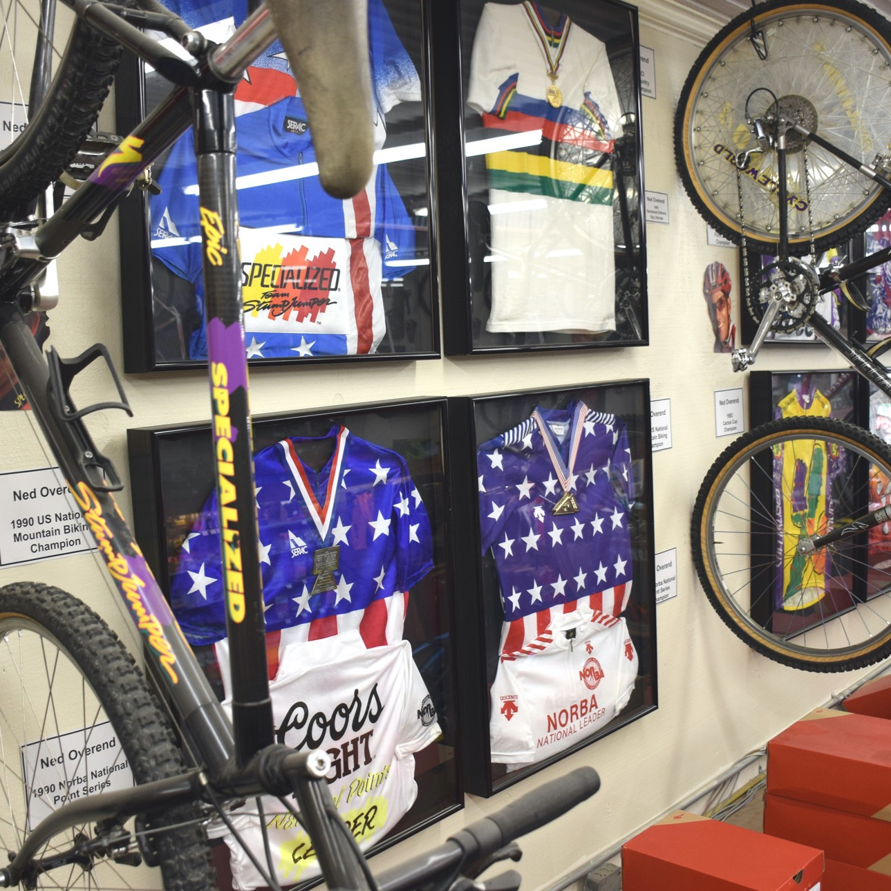 Ned Overend's championship bikes and jerseys