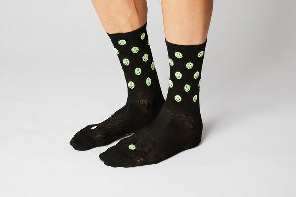 Fingers Crossed Smiley Black/Neon Socks