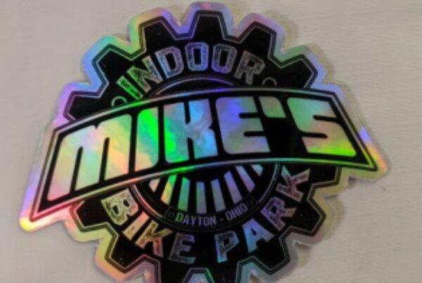 Mike's Bike Park MBP Logo Die Cut Small Sticker Hologram