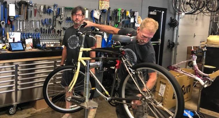 Service Technician working on a bike
