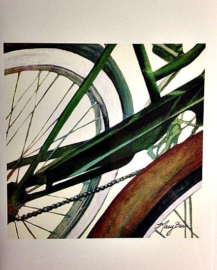 Mary Bea Art Mary Bea Bicycle Card - Blank Green