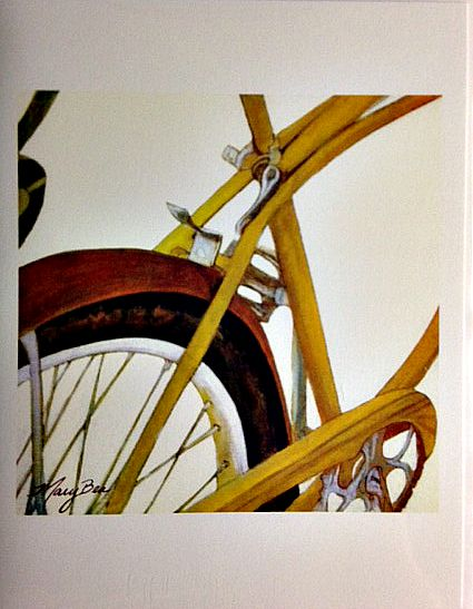 Mary Bea Art Mary Bea Bicycle Card - Blank Yellow