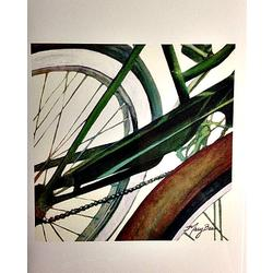 Mary Bea Art Mary Bea Bicycle Card - Blank Green