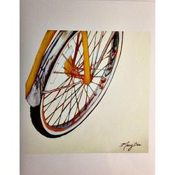 Mary Bea Art Mary Bea Bicycle Card - Blank Orange Front 2
