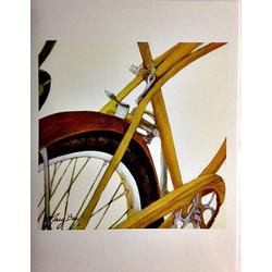 Mary Bea Art Mary Bea Bicycle Card - Blank Yellow
