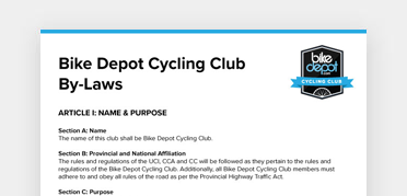 An image of the Bike Depot Cycling Club By-Laws document from Bike Depot