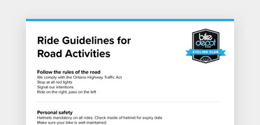 An image of the Ride Guidelines for Road Activities document from Bike Depot