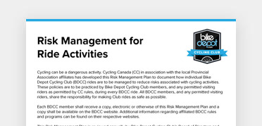 An image of the Risk Management for Ride Activities document from Bike Depot