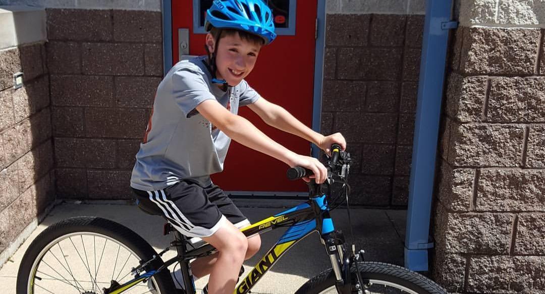 A boy on his new bike