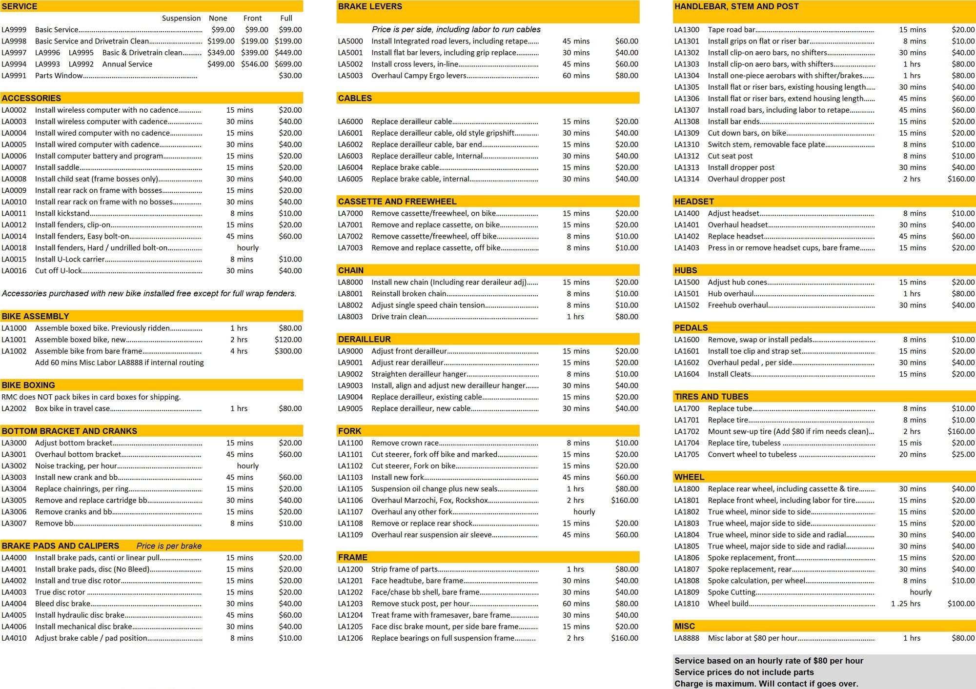 Ala carte service menu
