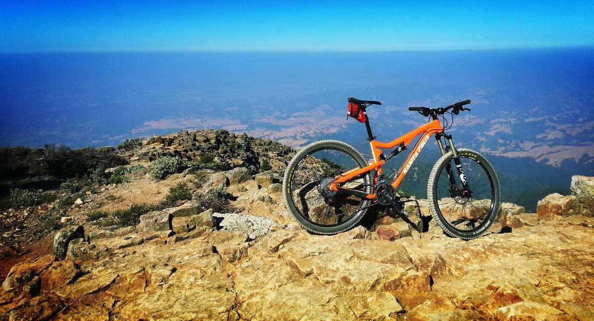 Mountain bike on the top of a mountain.