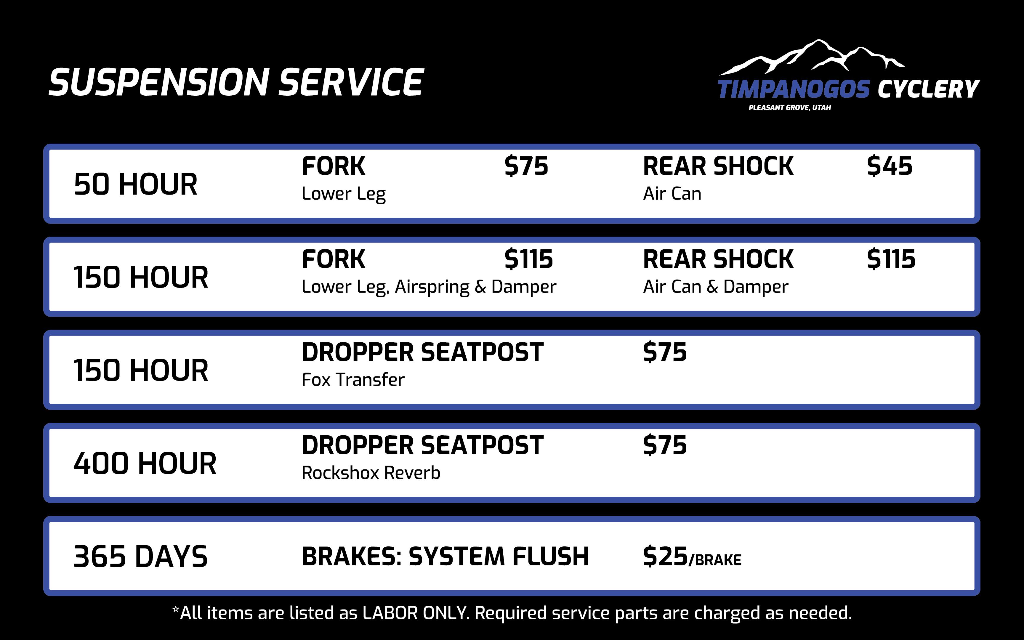 Suspension Service Prices