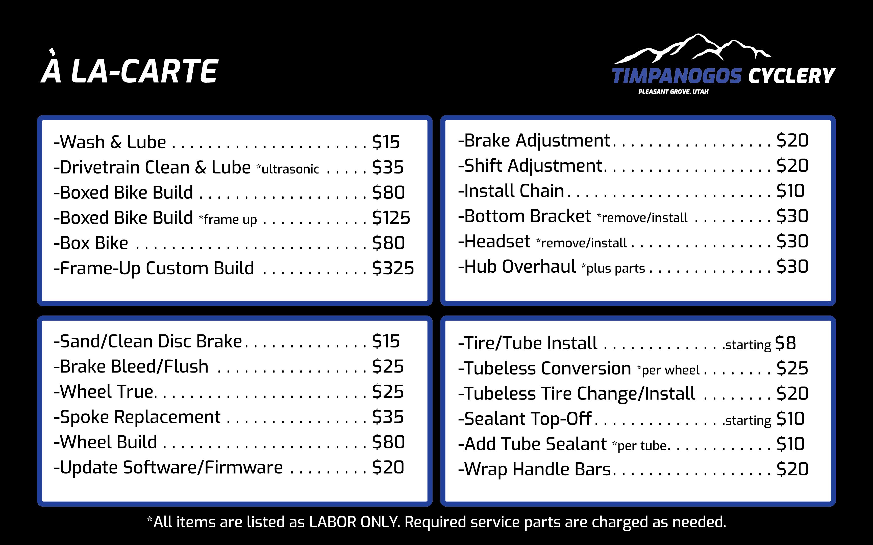 A La-Carte pricing for bike services