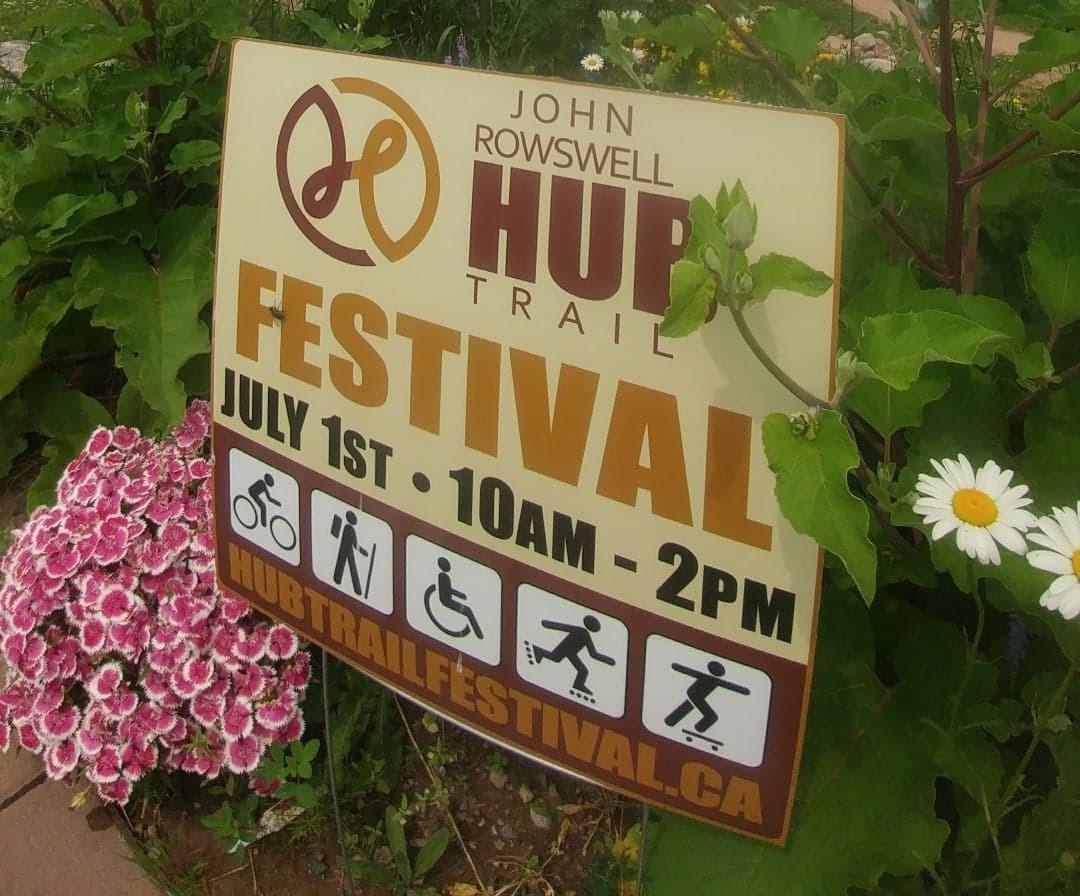 Sault Ste Marie Hub Trail Festival sign
