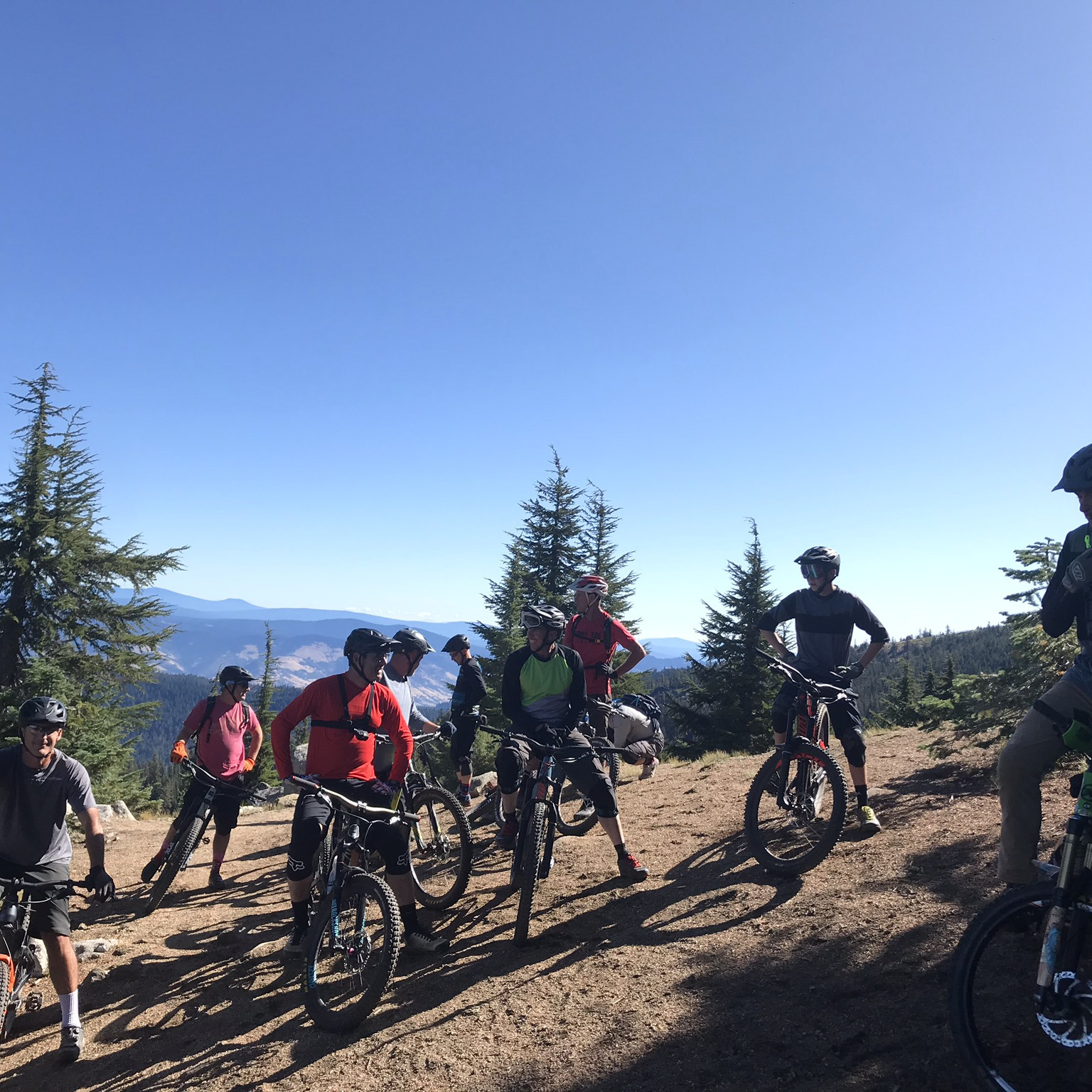 Photo of mountain bikers at a trailhead