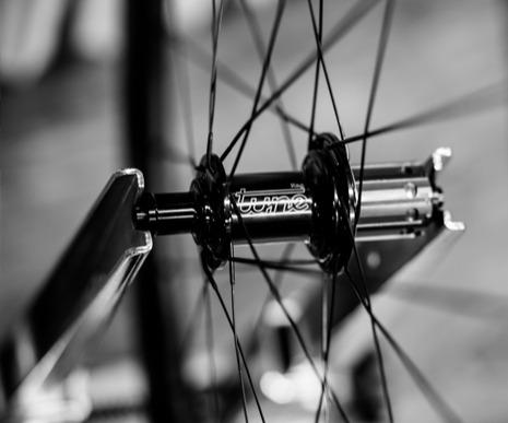 Custom bike wheel in the truing stand