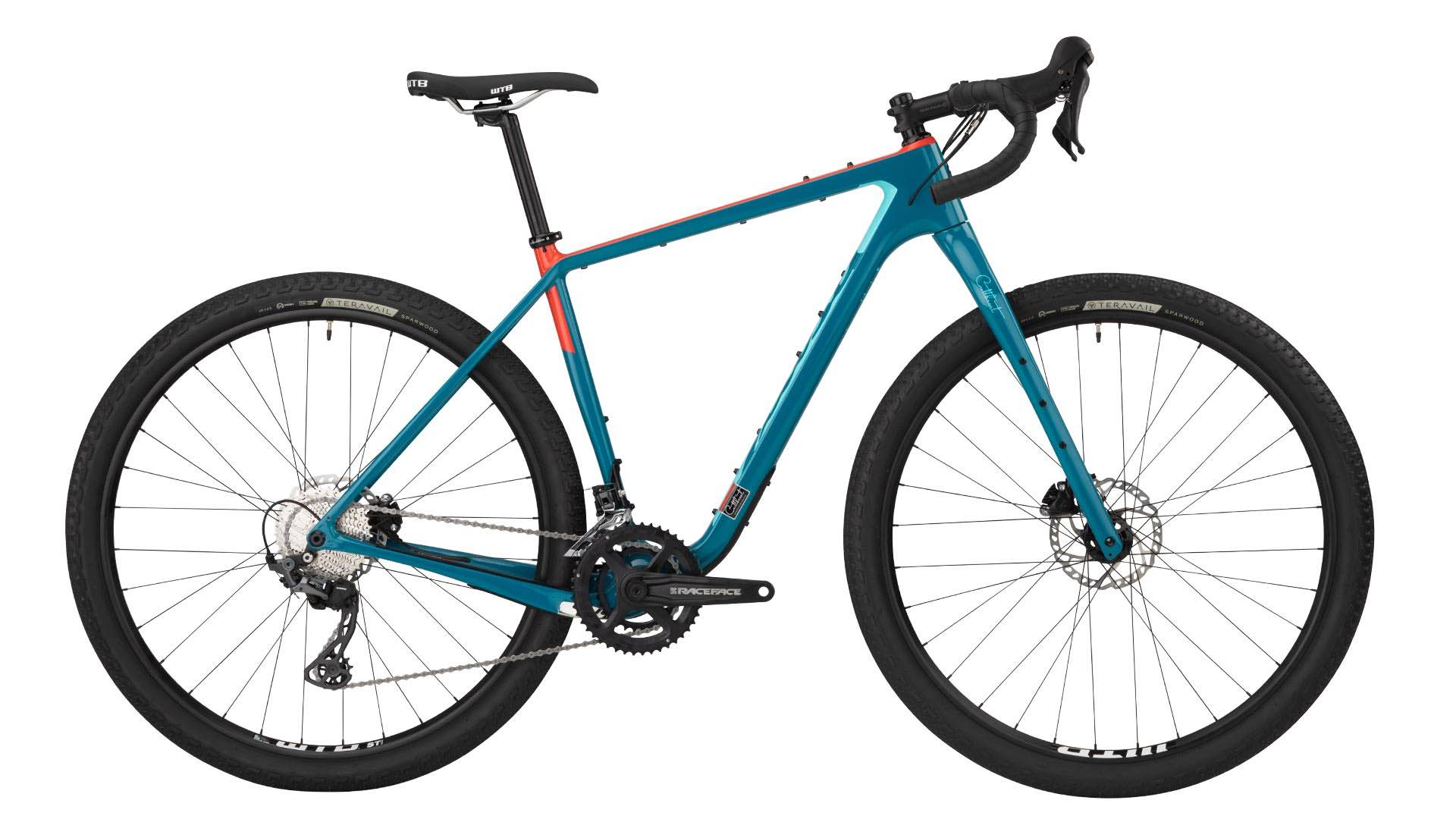 Stock image of a Salsa Cutthroat GRX 600 in teal/orange