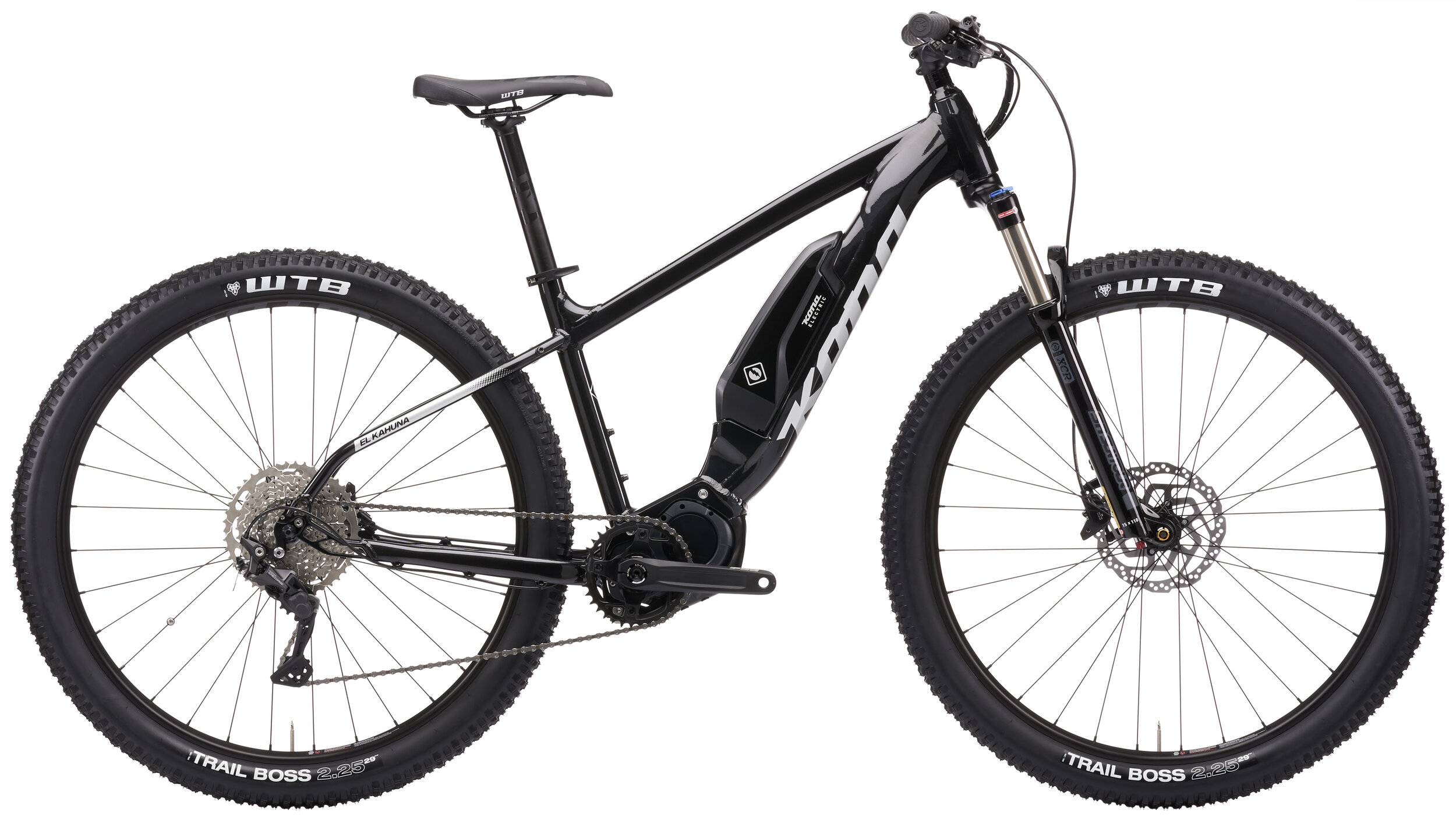 Stock image of a Kona El Kahuna electric hardtail mountain bike