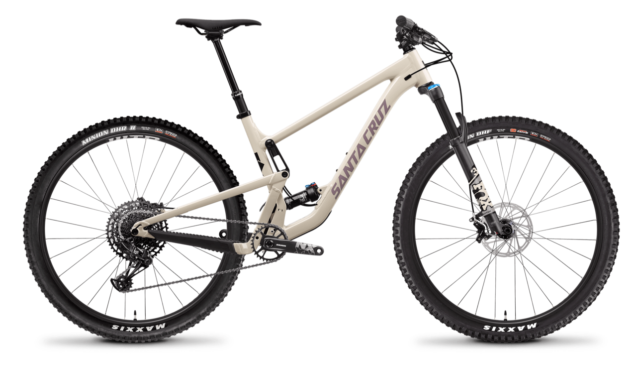 Stock image of a Santa Cruz Tallboy full-suspension mountain bike
