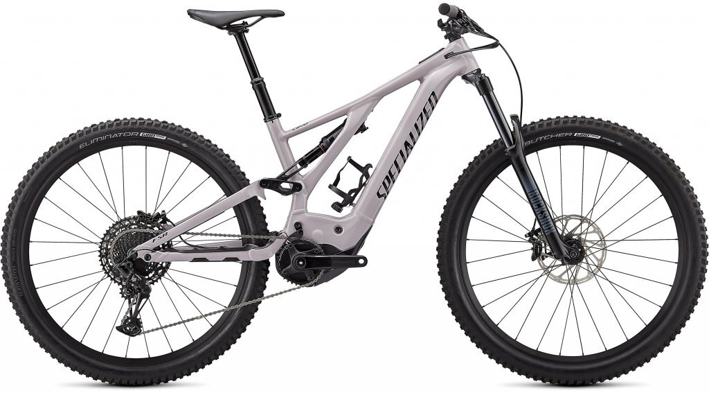 Stock image of a Specialized Turbo Levo electric full-suspension mountain bike in Dove Grey