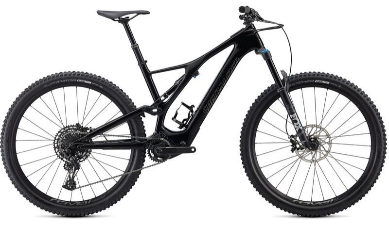 Stock image of a Specialized Turbo Levo SL Comp Carbon electric full-suspension mountain bike in black